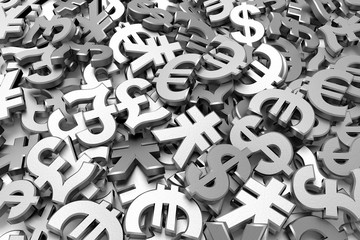 Currency symbols background. 3D rendering.