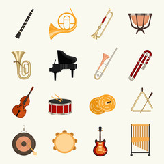 Orchestra instruments vector illustration