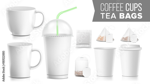 Disposable Paper Cups And Tea Bags Set Vector Plastic Ceramic Take Out