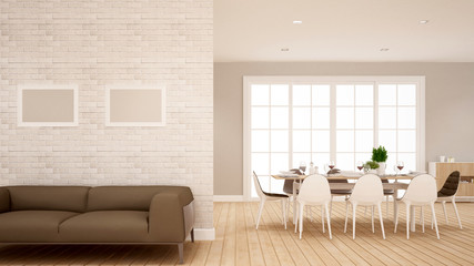Living area and dining area in apartment or Home - Interior Design for dining area - 3D Rendering
