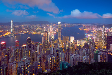 Hong Kong skyline at dusk, View from The peak, Hong Kong