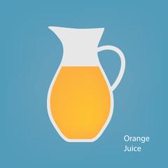 jug with orange juice- vector illustration