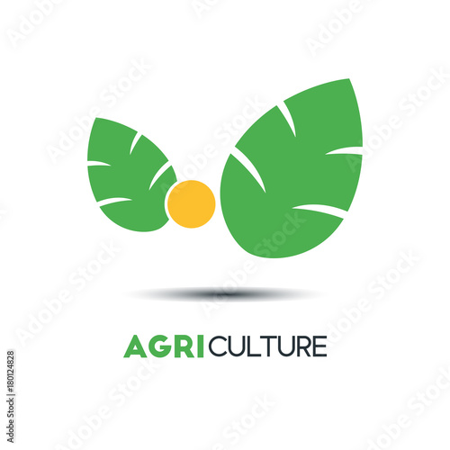 Agriculture Business Vector Logo Template. Two Green Leaves With The ...
