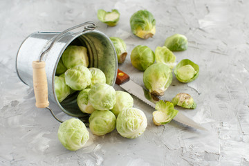 Brussels sprouts on a grey background