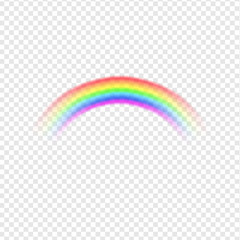 Light dispersion. Spectrum illustration. Rainbow on transparent background