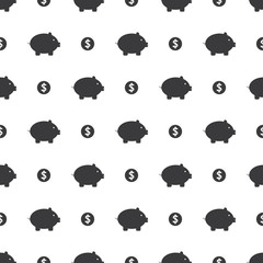 Piggy Bank And Dollar Coin Savings Seamless Silhouette Clear Background