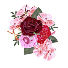 Bouquet of red roses and pink geranium. Decor elements for greeting cards, wedding invitations, birthday and other celebrations. Isolated on white background.