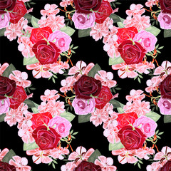 Seamless pattern with beautiful rose and geranium. Hand-drawn floral background for printing on fabric, clothing, home textiles, wallpaper, gift wrapping. Romantic design.
