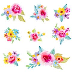 Set of watercolor bouquets