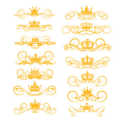 Gold elements Victorian style vector set