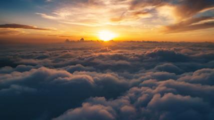 Cloud scape above carpathian mountains shot at sunset