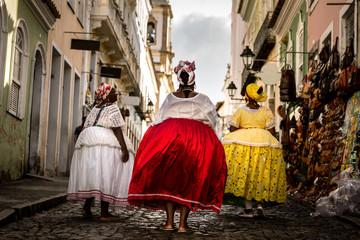"Group of ""Baianas"" walking in the famous Pelourinho in Salvador, Bahia, Brazil"