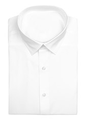 Men's Folded White Dress Shirt with Clipping Path