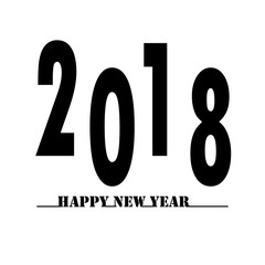 happy new year 2018 text on white background. happy new year 2018 sign.