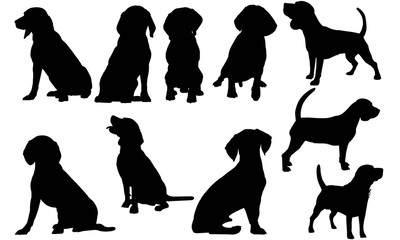 Beagle Dog Silhouette Vector Graphics