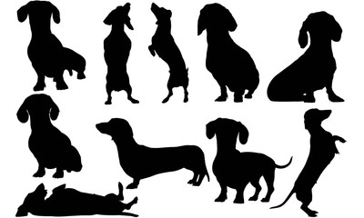 Dachshund Dog Silhouette Vector Graphics