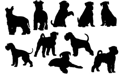 Miniature Schnauzer Dog Silhouette Vector Graphics