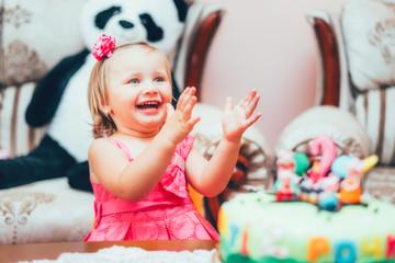 Little girl is happy birthday celebration, fun, joy
