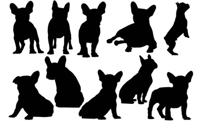 French Bulldog Dog Silhouette Vector Graphics