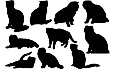 Scottish Fold Cat Silhouette Vector Graphics
