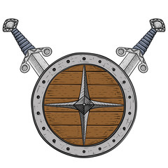 Viking round shield with swords. Colored hand drawn sketch
