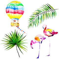 beautiful tropical palm leaves and flamingos, watercolor