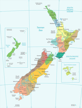 New Zealand Map - Detailed Vector Illustration