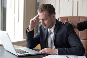 Desperate young Asian businessman unable to work with stress situation. Man in Stress situation Concept.