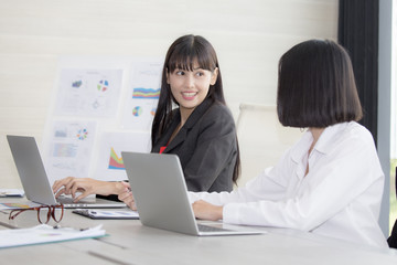 Young asian women working with team for business meeting plan, woman working concept,