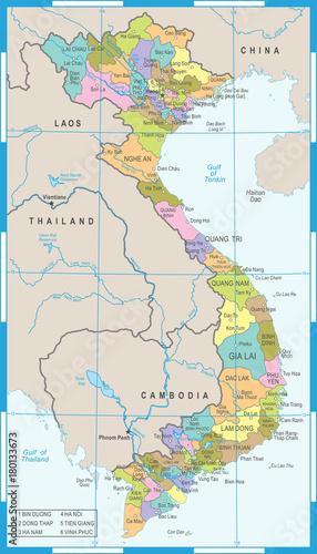 Vietnam Map - Detailed Vector Illustration\