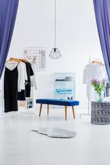 Wardrobe behind blue curtains