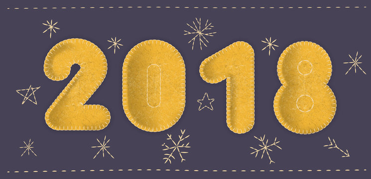 """Vector """"2018"""" concept. Number made of yellow felt fabric on a dark blue background with embroidered snowflakes. For cute New Year design."""