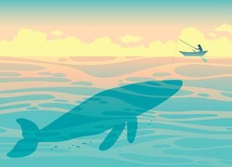 Big whale and fisherman. Sea vector.