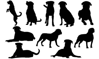 Rottweiler Dog Silhouette Vector Graphics