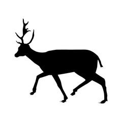 Silhouette of running deer.