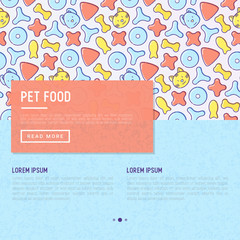 Pet food concept with thin line icons of dry food in different shapes and cute dog and cat. Modern vector illustration, template for web page of pet shop.