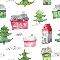 Watercolor seamless pattern with houses and trees. Festive winter decoration. Christmas background.