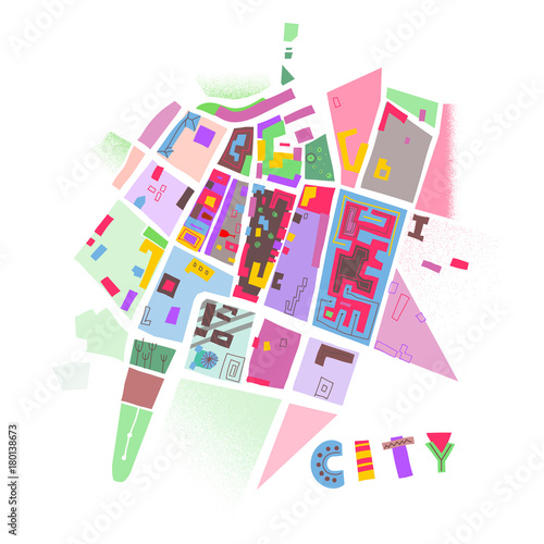 Vector colorful print of abstract city map