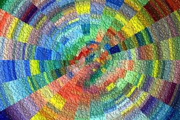 Bubbles on colorful circular hypnotic background