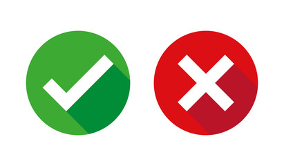 Check box list icons set, green and red isolated on white background, vector illustration.
