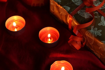 candle with present prapare for Christmas and New Year