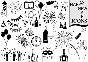 happy new year icon collection black and white design elements for your project vector