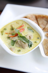 Thai food , Green curry soup with roti