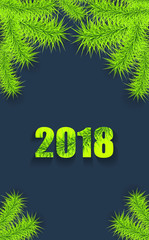 Christmas or New Year background vertical with tree branch light green on dark creative trend style for congratulation or invitation with Merry Christmas or New Year or for mobile telephone