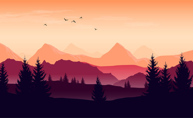 Landscape with orange and purple silhouettes of mountains, hills and forest