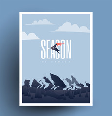 Snowboarding season is coming. Winter ski resort snowboarding themed poster flyer.