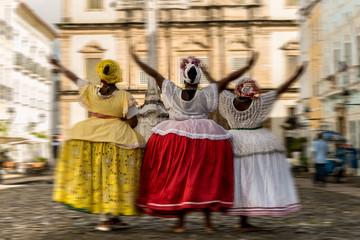 "Group of ""Baianas"" in the famous Pelourinho in Salvador, Bahia, Brazil"