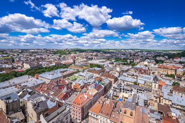 Cityscape of Lviv, Ukraine - aerial view from Town Hall tower