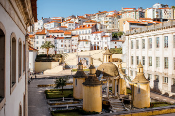 Top view on the beautiful Manga graden in Coimbra city in the central Portugal