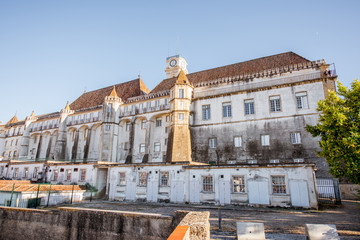 View on the old University building during the sunset in Coimbra city during the sunset in the central Portugal